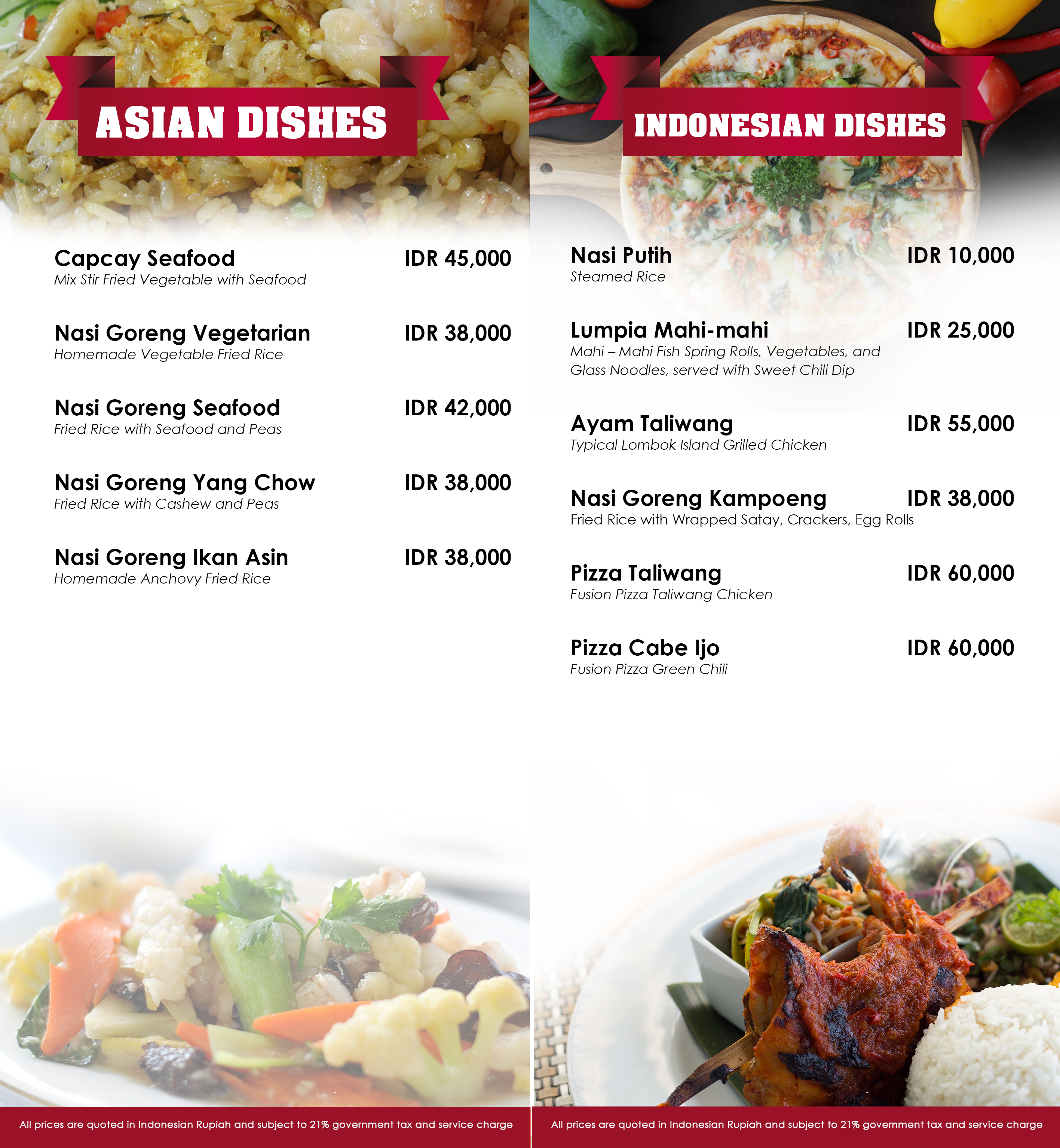 Menu In Room Dining Golden Palace Hotel Lombok